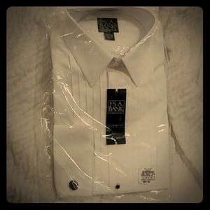 Jos.A.Bank tuxedo white shirt 16.5-34 tailored fit